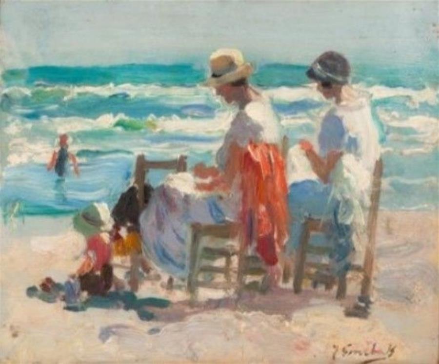 subasta arte Joaquín Sorolla y Bastida, Haciendo labores ante el mar