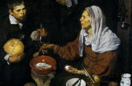 VELÁZQUEZ---Vieja-friendo-huevos-(National-Galleries-of-Scotland,-1618.-Óleo-sobre-lienzo,-100.5-x-119.5-cm)