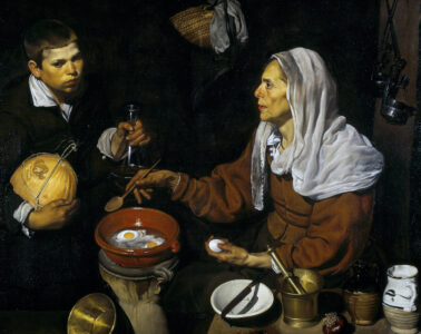 VELÁZQUEZ---Vieja-friendo-huevos-(National-Galleries-of-Scotland,-1618.-Óleo-sobre-lienzo,-100.5-x-119.5-cm)